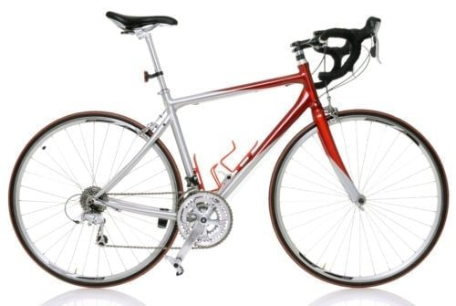 side facing red and silver road bike