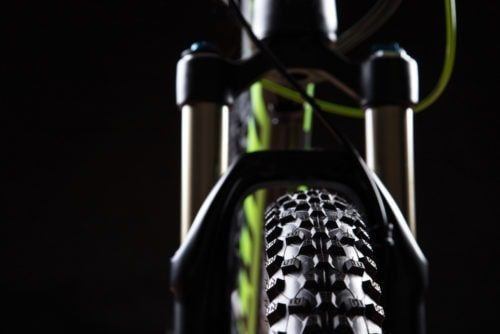 close up of a mountain bikes suspension forks