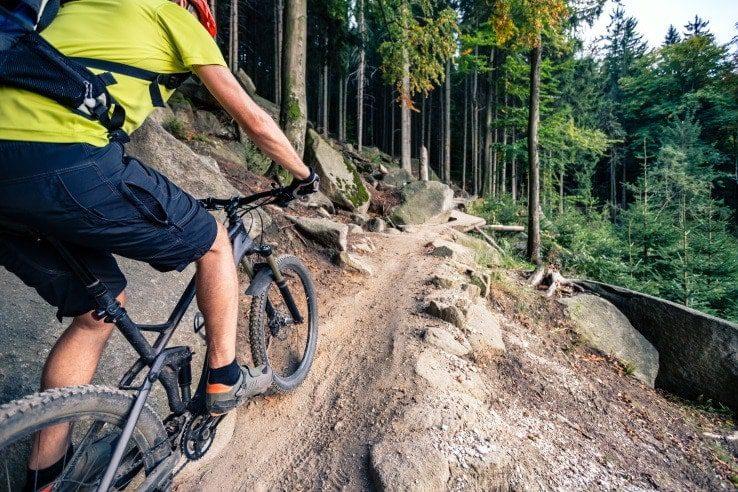 mountain biker in a dirt trail