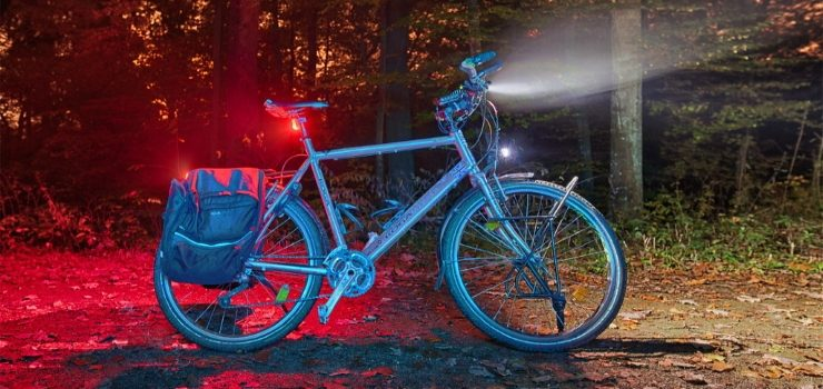 a bicycle with front and rear lights