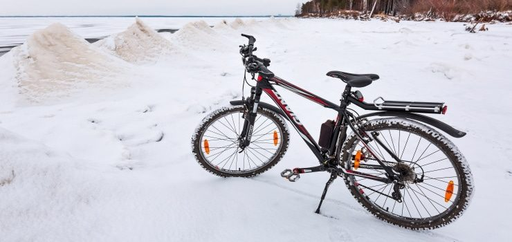 a frozen mountain bike