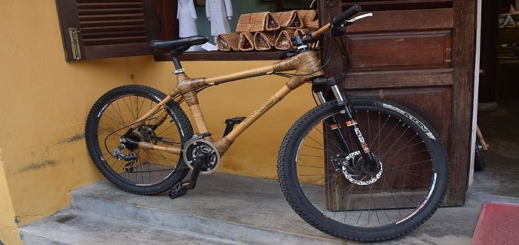 a mountain bike made of bamboo