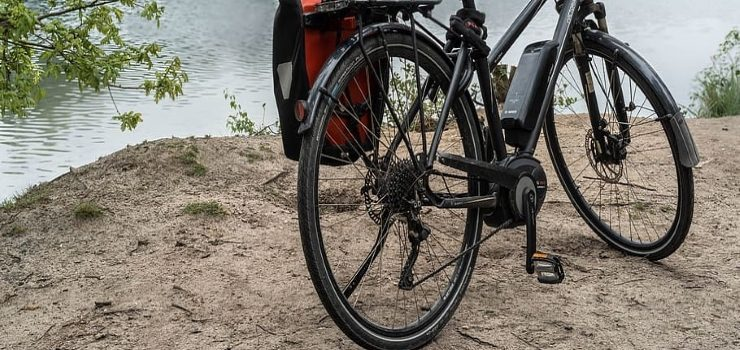 electric bicycle near a lake