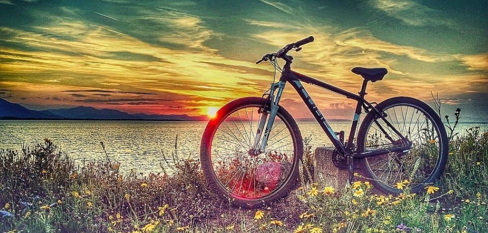 hardtail mountain bike on the grass near of the sea