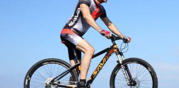 man riding a sava mountain bike
