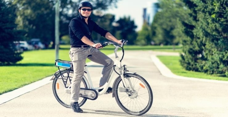 man riding an electric bicycle